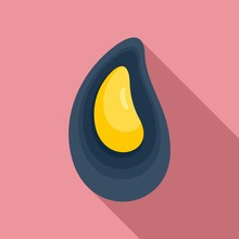 Mussels Icon. Flat Illustration Of Mussels Vector Icon For Web Design
