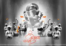 Illustration Of Indian People Celebrating Ganesh Chaturthi Festival Of India With Message Shri Ganeshaye Namah Prayer To Lord Ganesha