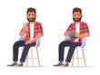 Man uses a smartphone and a tablet while sitting on a chair. Internet surfing or reading an article