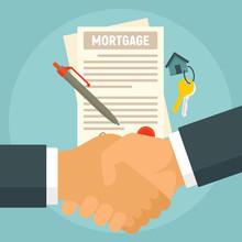 Mortgage Concept Banner. Flat Illustration Of Mortgage Vector Concept Banner For Web Design