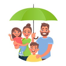 Family Insurance Concept. Protection Of All Family Members From Accidents. Mom Dad And Children Under An Umbrella