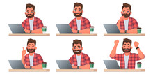 Stages Of Doing Work On A Laptop. A Bearded Man Works At A Computer. The Working Process
