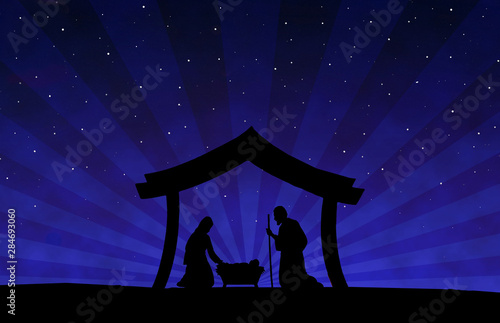 Fototapeta  Christmas Nativity Scene black silhouette on blue background