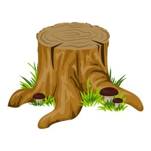 Stump With Mushroom Icon. Cartoon Of Stump With Mushroom Vector Icon For Web Design Isolated On White Background