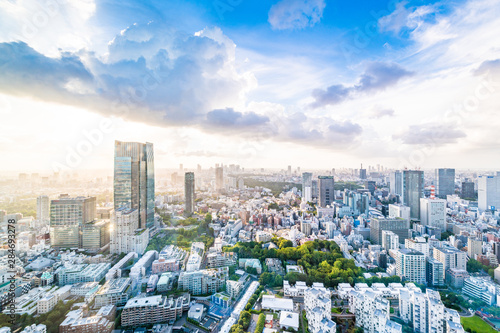 東京の幻想的な青空都会 Canvas Print
