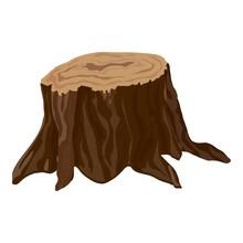 Garden Tree Stump Icon. Cartoon Of Garden Tree Stump Vector Icon For Web Design Isolated On White Background