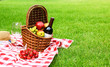 Leinwandbild Motiv Picnic basket with fruits and bottle of wine on checkered blanket in garden. Space for text
