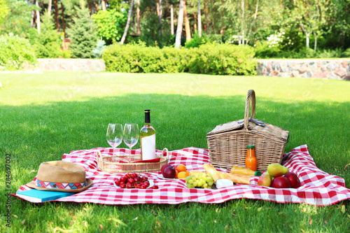 Foto op Aluminium Picknick Picnic basket with products and bottle of wine on checkered blanket in garden