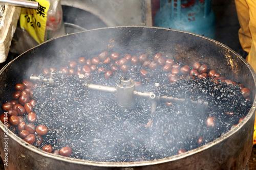 Making chestnuts in the market - Kuala Lumpur Malaysia Asia Wallpaper Mural