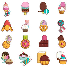 Sweet Tooth Icons Set. Cartoon...
