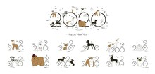 2020 Dog Calendar, Creative Headline And 12 Logos With Different Breeds Of Dogs. Minimal, Sketch Style, Isolated On White Background, Vector Illustration