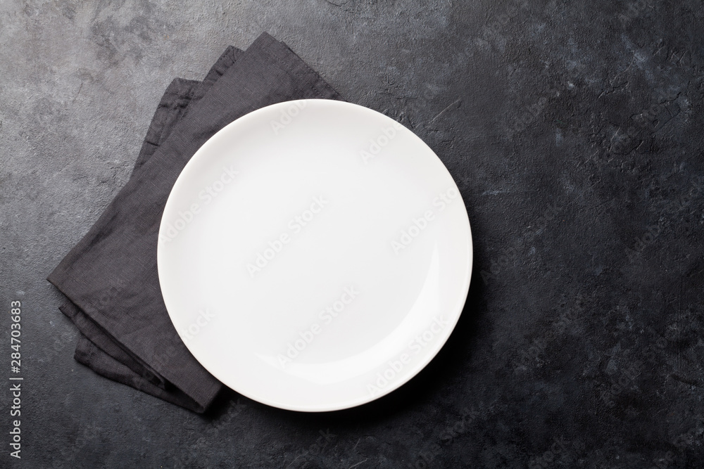 Fototapety, obrazy: Kitchen table with empty plate and towel