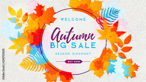 Obraz Autumn big sale watercolor poster with autumn leaves. Autumn background - fototapety do salonu