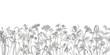 Leinwandbild Motiv Collection of hand drawn flowers and herbs. Botanical plant illustration. Vintage medicinal herbs sketch set of ink hand drawn medical herbs and plants sketch
