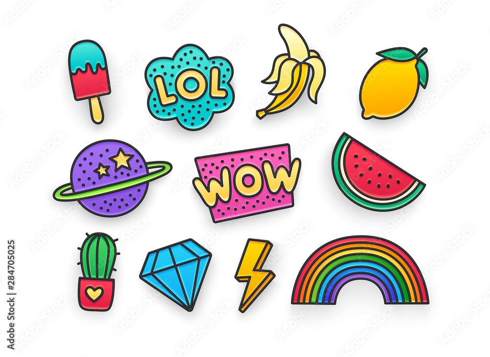 Fototapety, obrazy: Enamel pin, clothing patch, pin, patches, badges and stickers set. 80s-90s style. Vector illustration
