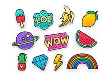 Enamel Pin, Clothing Patch, Pin, Patches, Badges And Stickers Set. 80s-90s Style. Vector Illustration