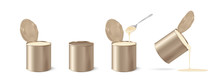 Metal Tin Realistic. Condensed Milk. Condensed Milk Can. 3D Vector Illustration On White Background