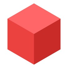 Red Cube Icon. Isometric Of Re...