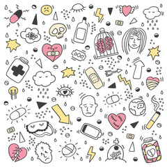 Set of depression doodles color. Set of heartbreak doodle. Depression signs and symptoms. Concept of stress, sadness, depression, metaphor isolated on white background.