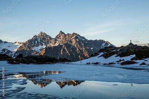 Vászonkép  Spring thaw on remote alpine lake in the Talkeetna Mountains of Alaska