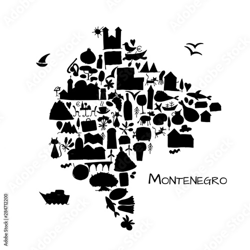 Travel map Montenegro for your design Wallpaper Mural