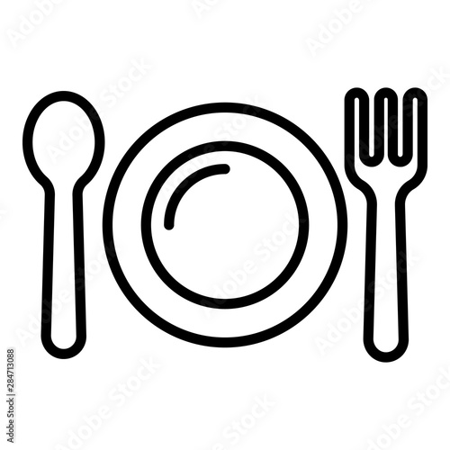 kid plate fork spoon icon outline kid plate fork spoon vector icon for web design isolated on white background buy this stock vector and explore similar vectors at adobe stock kid plate fork spoon icon outline
