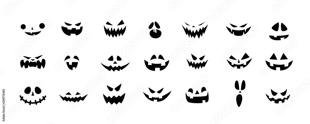 Fototapety, obrazy: Set of Halloween scary pumpkins cut. Spooky creepy pumpkins cut