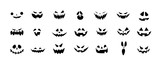 Fototapeta Dmuchawce - Set of Halloween scary pumpkins cut. Spooky creepy pumpkins cut