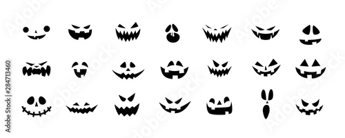 Set of Halloween scary pumpkins cut. Spooky creepy pumpkins cut Fotobehang