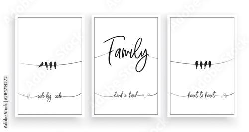 Fotografie, Obraz  Family, side by side, hand in hand, heart to heart vector, wording design, lette