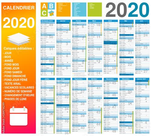 Calendrier 2020 14 mois avec vacances scolaires officielles 2020