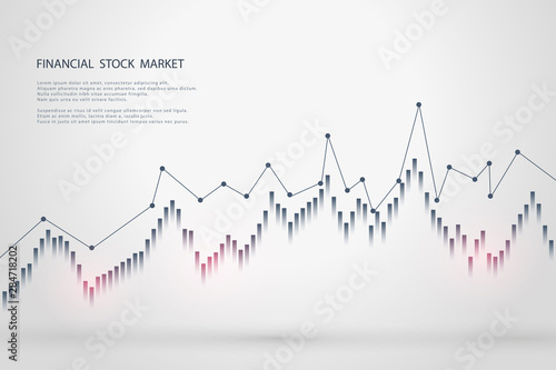 Fotomural  Stock market graph or forex trading chart for business and financial concepts, reports and investment on grey background