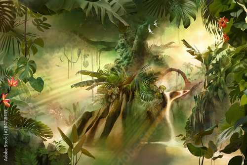 beautiful-dreamy-jungle-landscape-with-big-old-tree-can-be-used-as-background-or-wallpaper