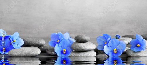 Photo  Zen stones and violet flowers on grey background.
