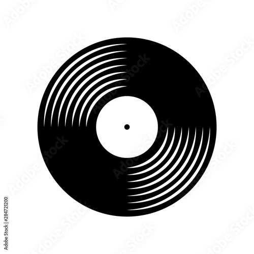 Fotomural  Vinyl plate disc isolated on white background. Music retro icon.