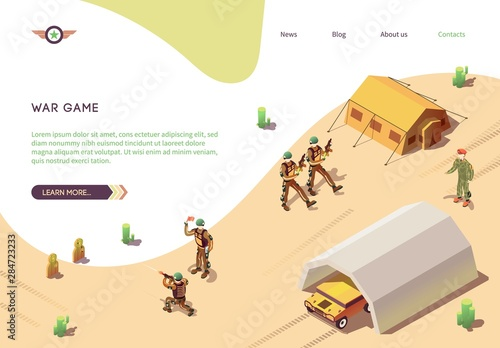 Papel de parede War Game Banner with Military Training Army Camp