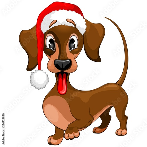 Foto op Canvas Draw Dachshund Christmas Santa Cute Cartoon Character Vector Illustration