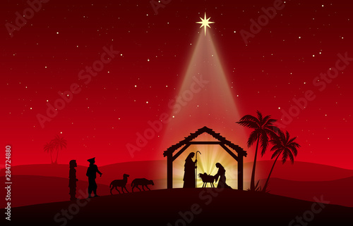 Chritmas Nativity Scene on red background Canvas Print