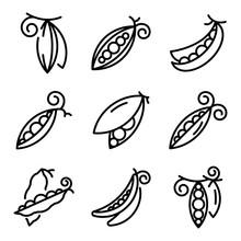Peas Icons Set. Outline Set Of...