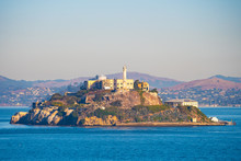 Alcatraz Prison Island In San Francisco Bay, Offshore From San Francisco, California, A Small Island With Military Fortification And Federal Prison, Now A Famous National Historical Landmark.