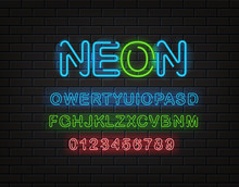 Neon Font Clipart. Latin Alphabet And Digits On A Brick Wall
