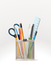 School Stationery Vector Elements. Vector Illustration