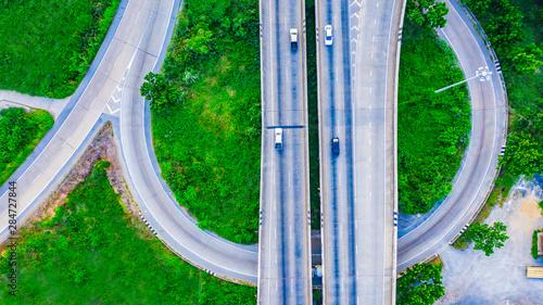 Fototapeta Aerial view Expressway motorway highway circus intersection at Day time Top view , Bangkok, Thailand. obraz na płótnie
