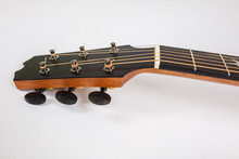 Tuning Pegs On Wooden Machine Head Of Six Strings Guitar On White Background