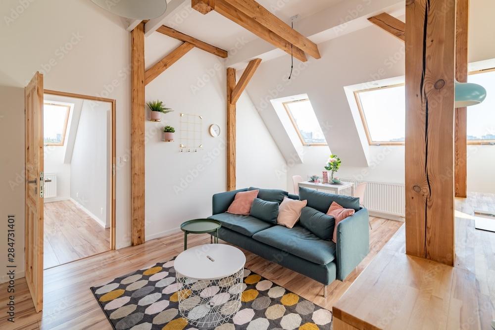 Fototapety, obrazy: Bright attic living room in the loft apartment