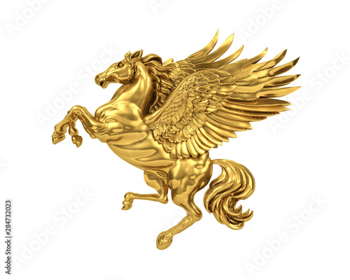 Fotografia Golden flying horse Pegasus isolated on white background (with clipping path)