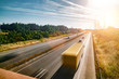 canvas print picture - Lots of Trucks and cars on a Highway - transportation concept