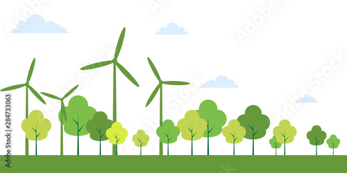 Ecology town concept and environment With Eco-Friendly Ideas,Vector Illustration Fototapet