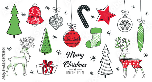 Canvastavla  Set of hand drawn christmas decoration isolated elements