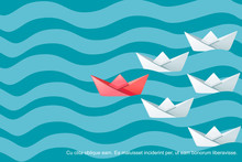 Folded Paper Boats On Water Waves Following The Leader Abstract Concept Flat Vector Illustration